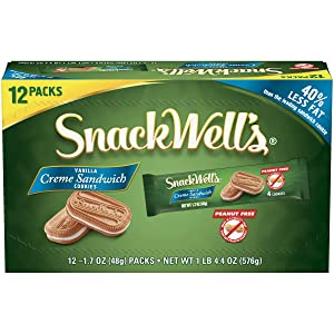 SnackWell's Crème Sandwich Cookies, Vanilla, 1.7 Ounce (Pack of 12)