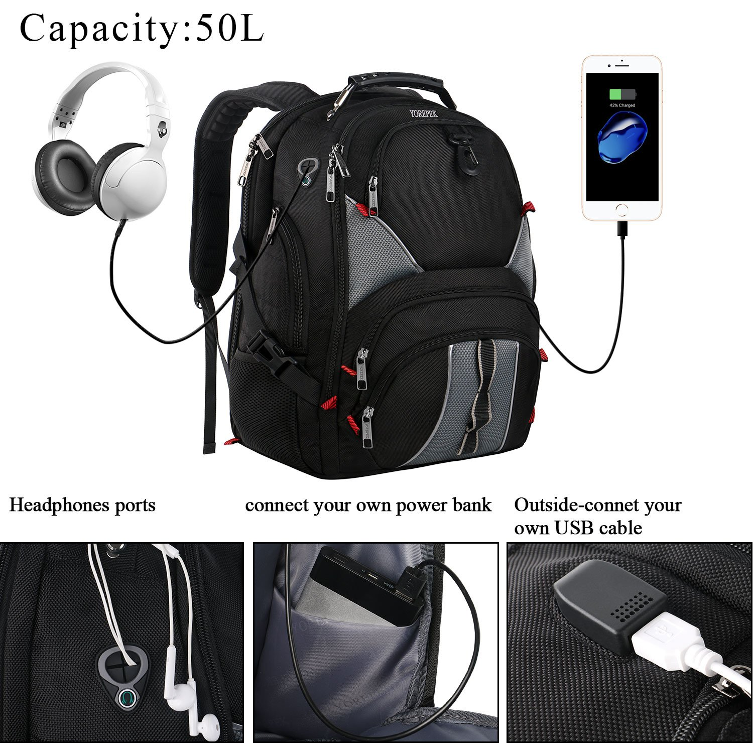 17 inch Laptop Backpack,Large Travel Backpack,TSA Friendly Durable Computer Bagpack with Luggage Sleeve for Men Women, Water Resistant Business College School Bag with USB Charger Port, Black by YOREPEK (Image #3)