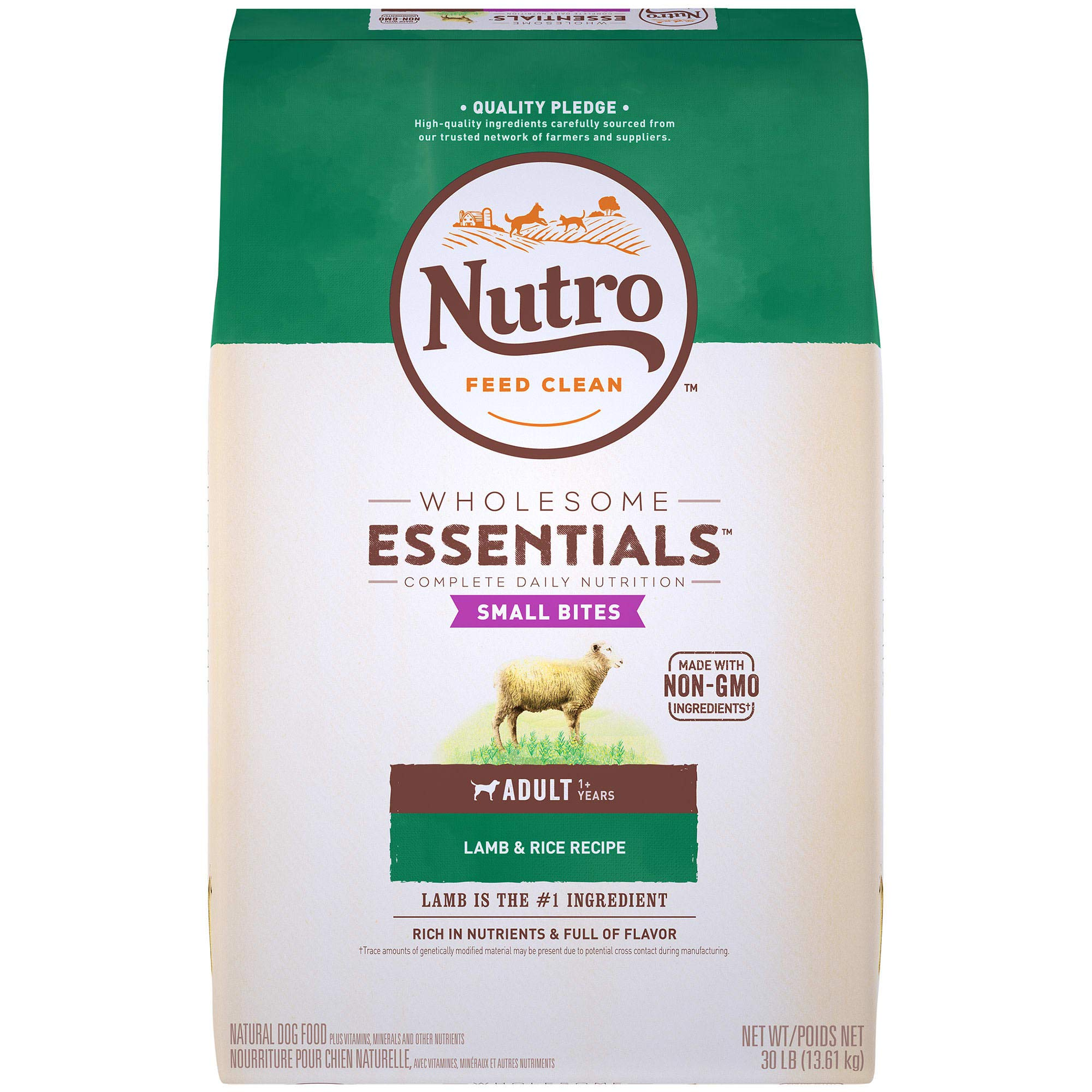 NUTRO Wholesome Essentials Natural Adult Dry Dog Food, Small Bites, Lamb & Rice Recipe