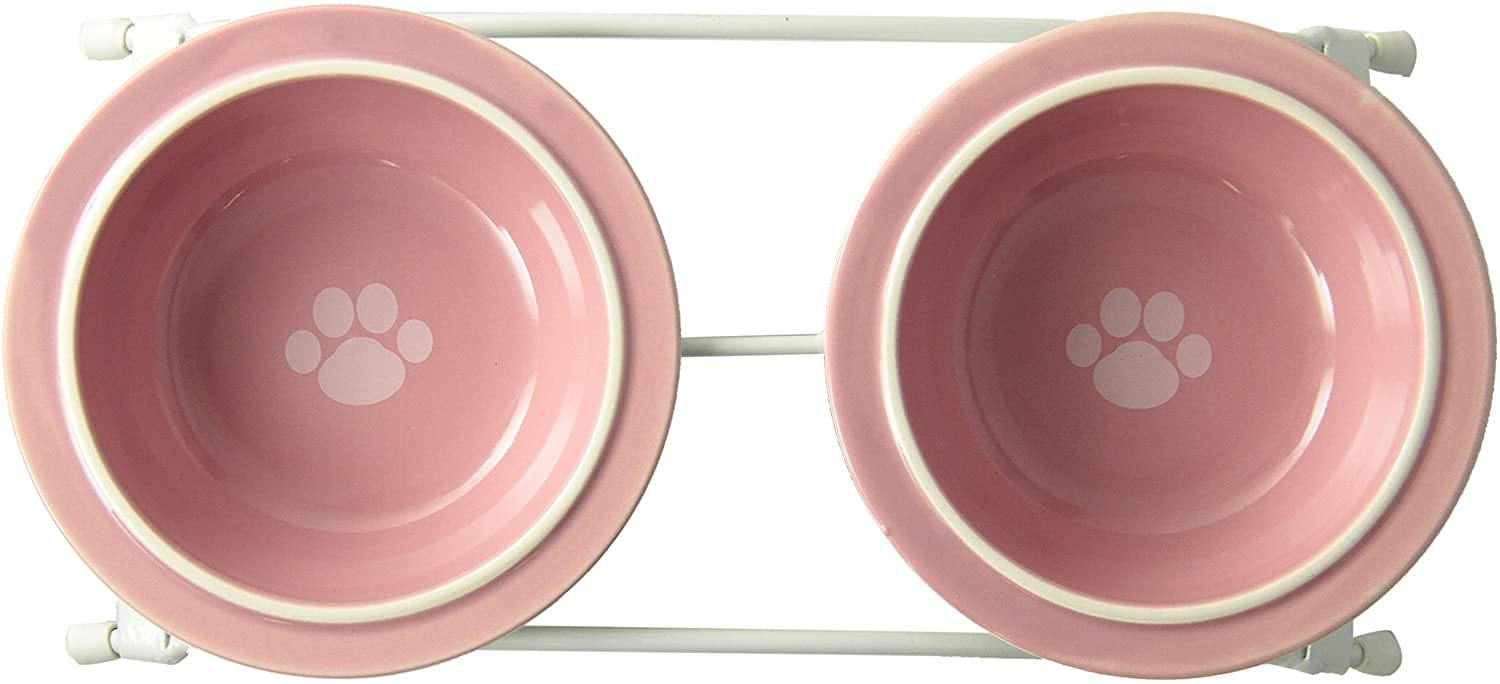 PetRageous 44355 Toftee's Paws Diner with Two 1-Cup Dishwasher Safe Stoneware Bowl Capacity 10.75-Inch Length 2.25-Inch