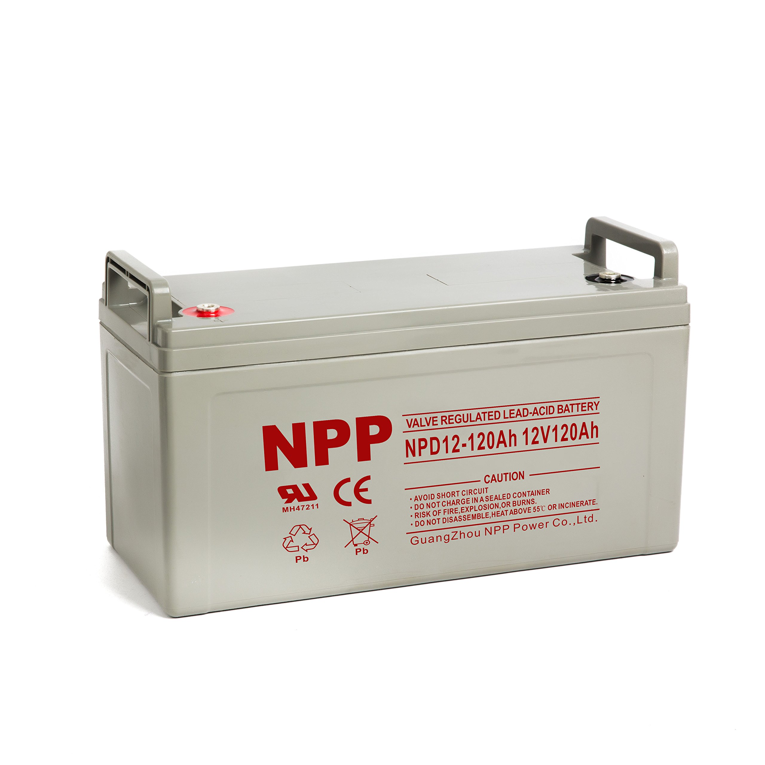NPP 12V 120 Amp NPD12 120Ah Rechargeable AGM Deep Cycle Battery With Button Style Terminals