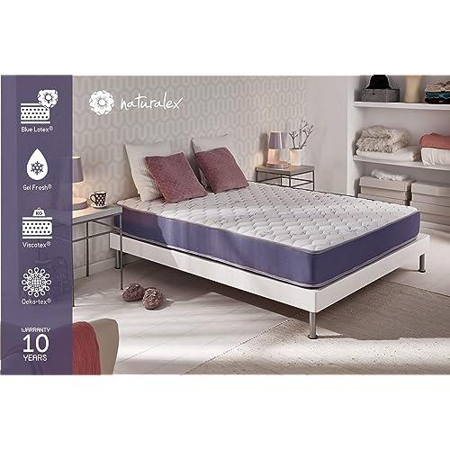 NATURALEX Matelas GELTEC 140 X 190 cm - Mousse à mémoire Gel-Fresh® Thermo-Régulant + Blue-Latex® à 7 Zones de Confort - Souple