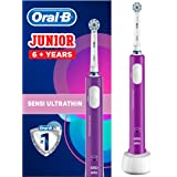 Oral-B Junior Kids Electric Toothbrush Rechargeable for Children Aged 6+: 1 Children's Electric Toothbrush Rechargeable Handle and 1 Sensitive Toothbrush Replacement Head Powered by Braun, Purple