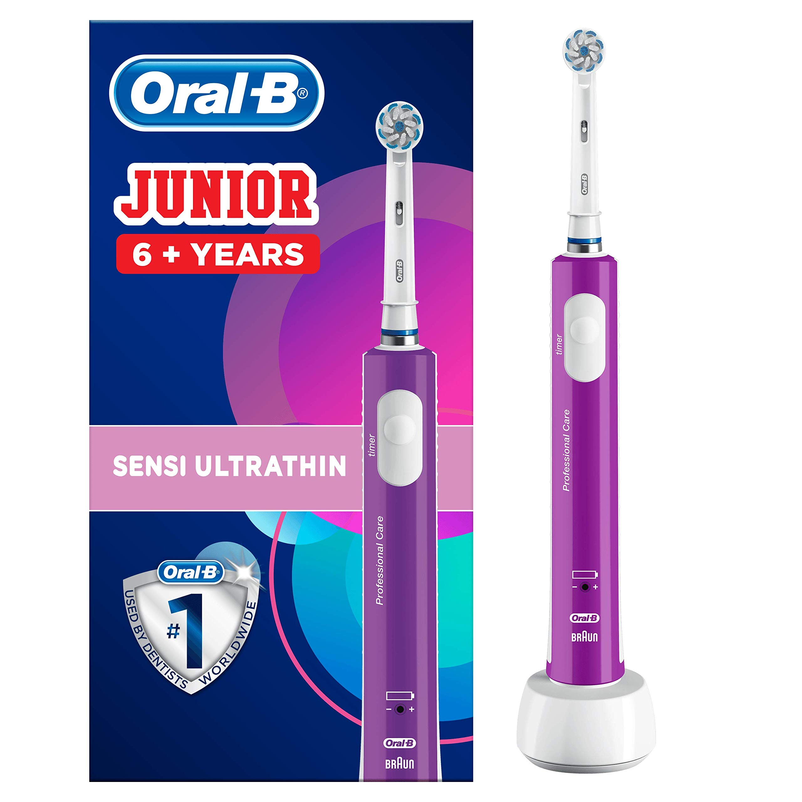 Oral-B Junior Kids Electric Rechargeable Toothbrush for Children Age 6-12, 1 Brush Handle and 1 Sensitive Toothbrush Replacement Head Powered by Braun, Purple, UK 2 Pin Plug, Stocking Filler for Kids