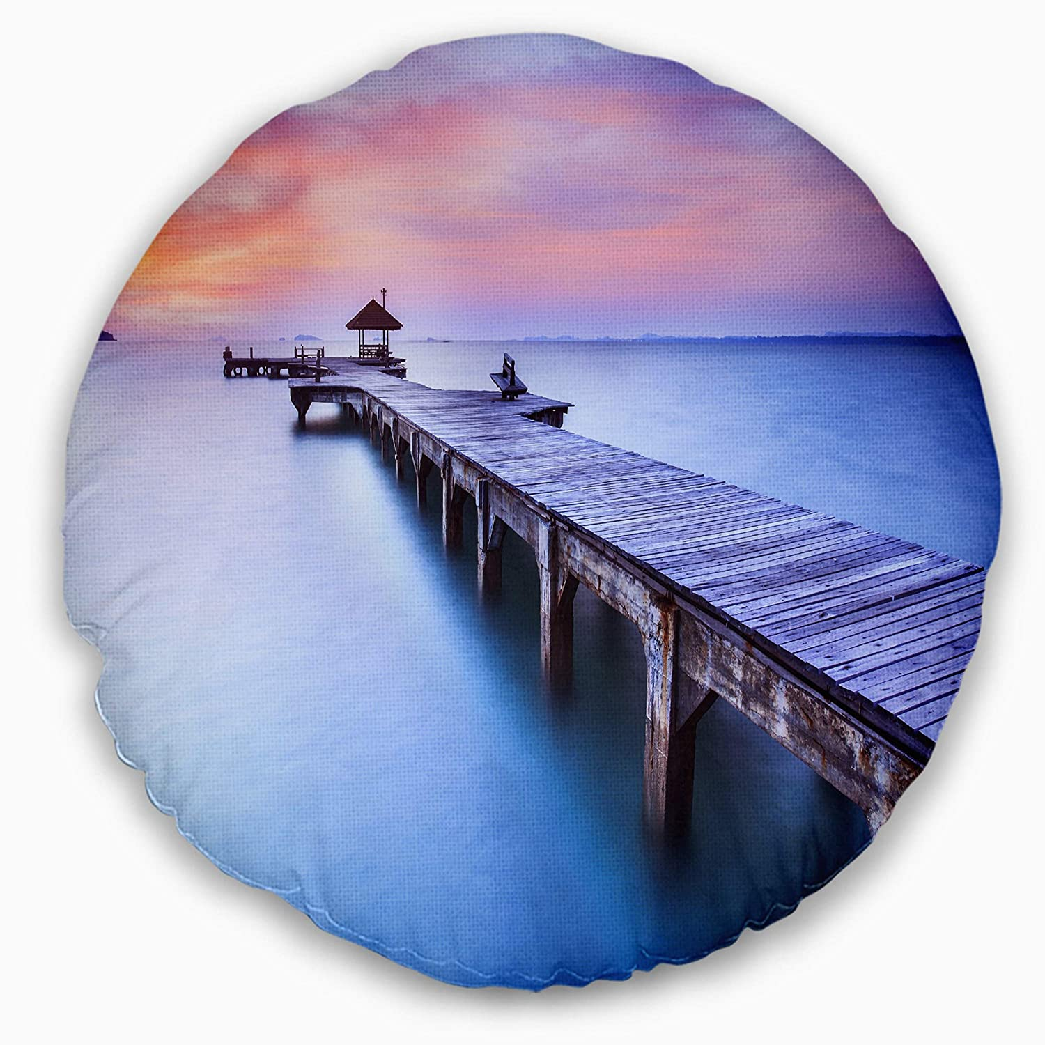 Sofa Throw Pillow 16 Designart CU6457-16-16-C Blue Wooden Bridge Seascape Photography Round Cushion Cover for Living Room