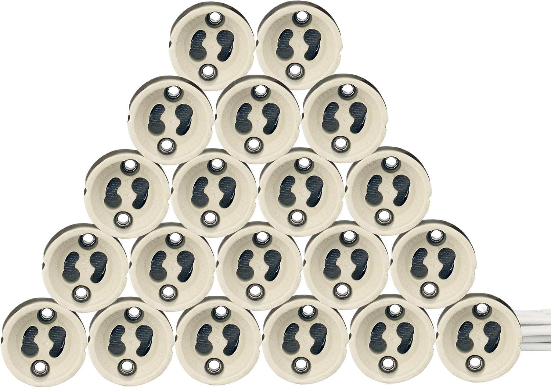 EACLL GU10 Bases para Lámparas, Casquillo Portalámparas Zócalo de Cerámica, Con Cable de Silicona de Calidad, Conector Para LED GU10 y Bombilla Halógena, Pack de 20