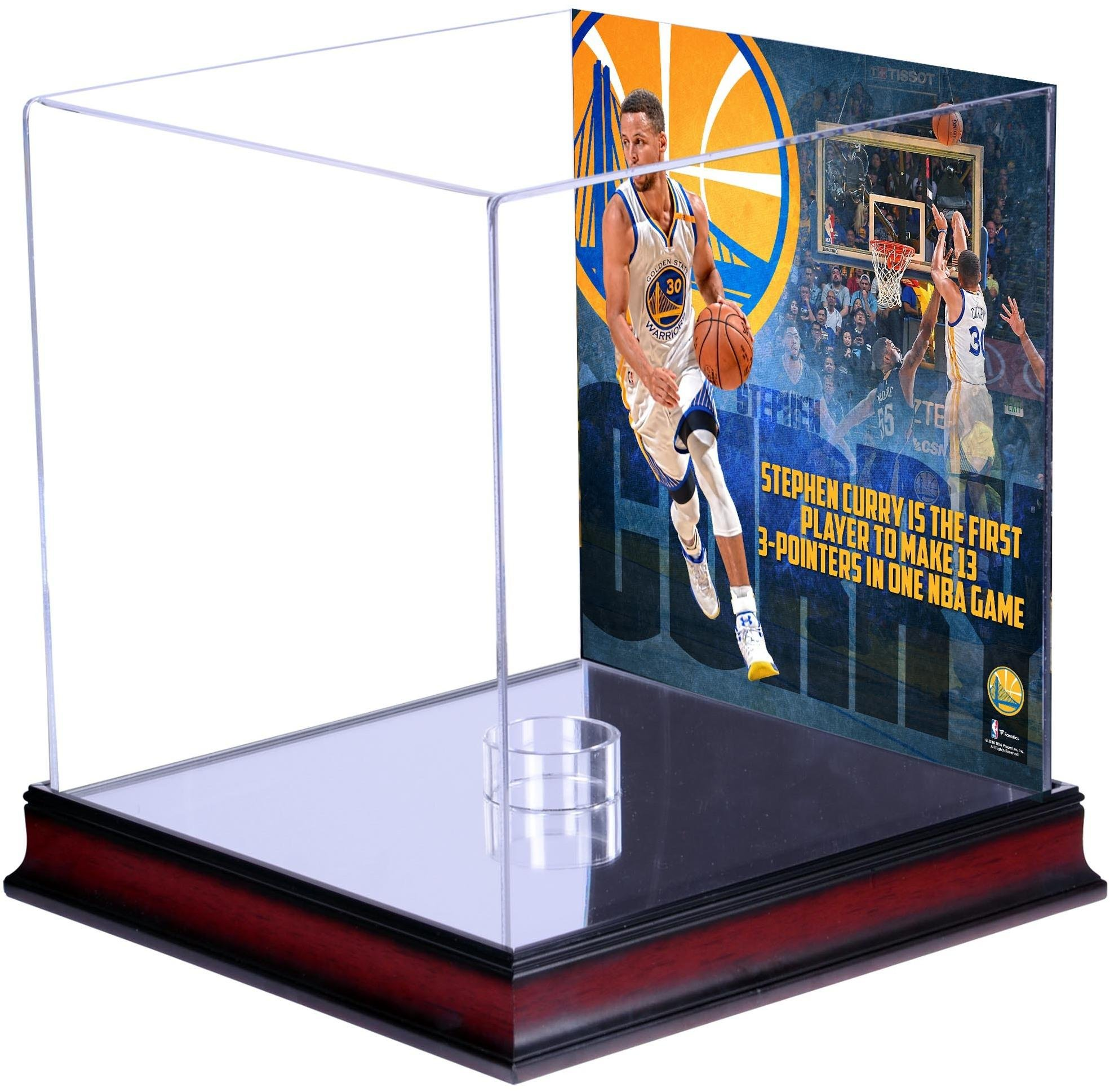 Stephen Curry Golden State Warriors Mahogany Basketball Display Case with NBA Record 13 3-Pointers Sublimated Plate - Fanatics Authentic Certified by Sports Memorabilia