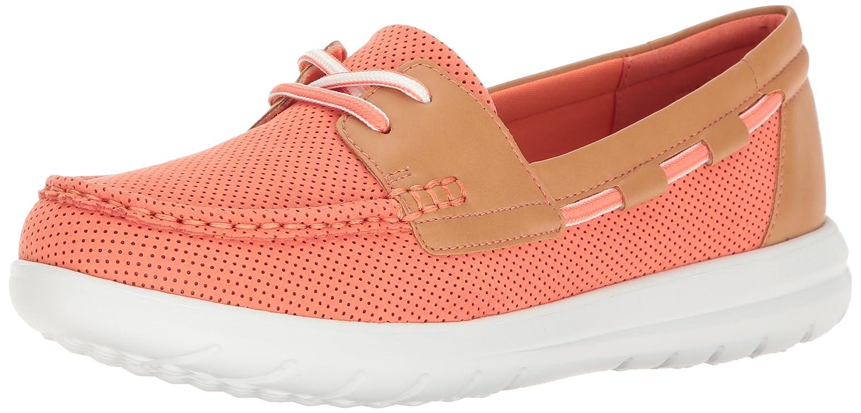 CLARKS Women's Jocolin Vista Boat Shoe B01IAWLLX4 12 B(M) US|Coral Perforated Microfiber