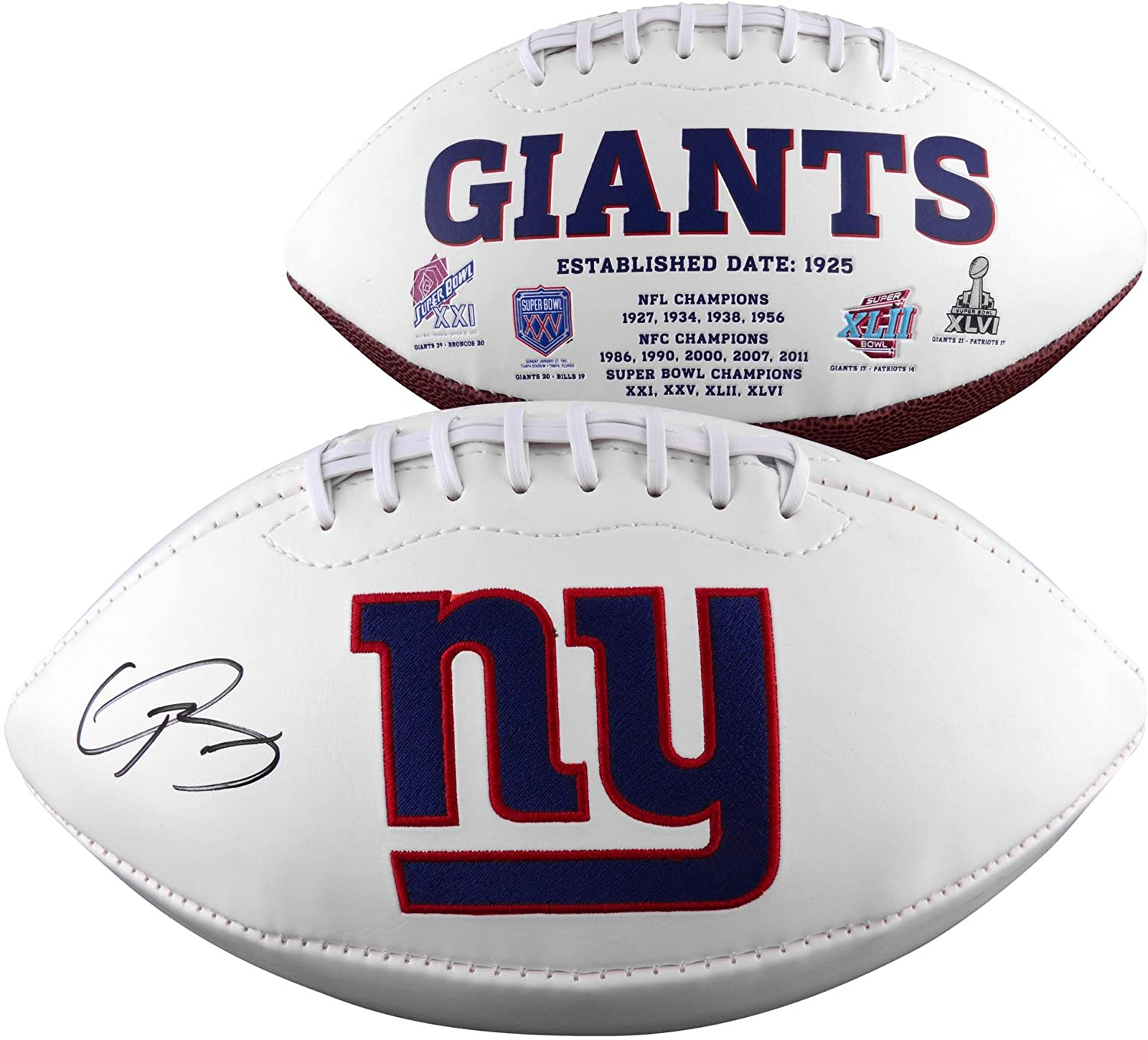 Odell Beckham Jr. New York Giants Autographed White Panel Football - Fanatics Authentic Certified - Autographed Footballs