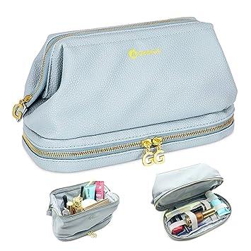 ee6ac4379e50 Amazon.com   Gootus Toiletry Organizer Makeup Bag - Leather Women Cosmetic  Bags Waterproof Travel Kit   Beauty