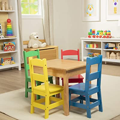 Melissa & Doug Kids Furniture Wooden Table & 4 Chairs - Primary (Natural Table, Yellow, Blue, Red, Green Chairs): Toys & Games