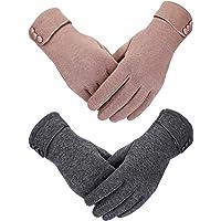 2 Paires Gants d'Hiver pour Femmes Gant en Peluche Plus Chaud Gants Coupe-Vent Doublés pour Femmes et Filles