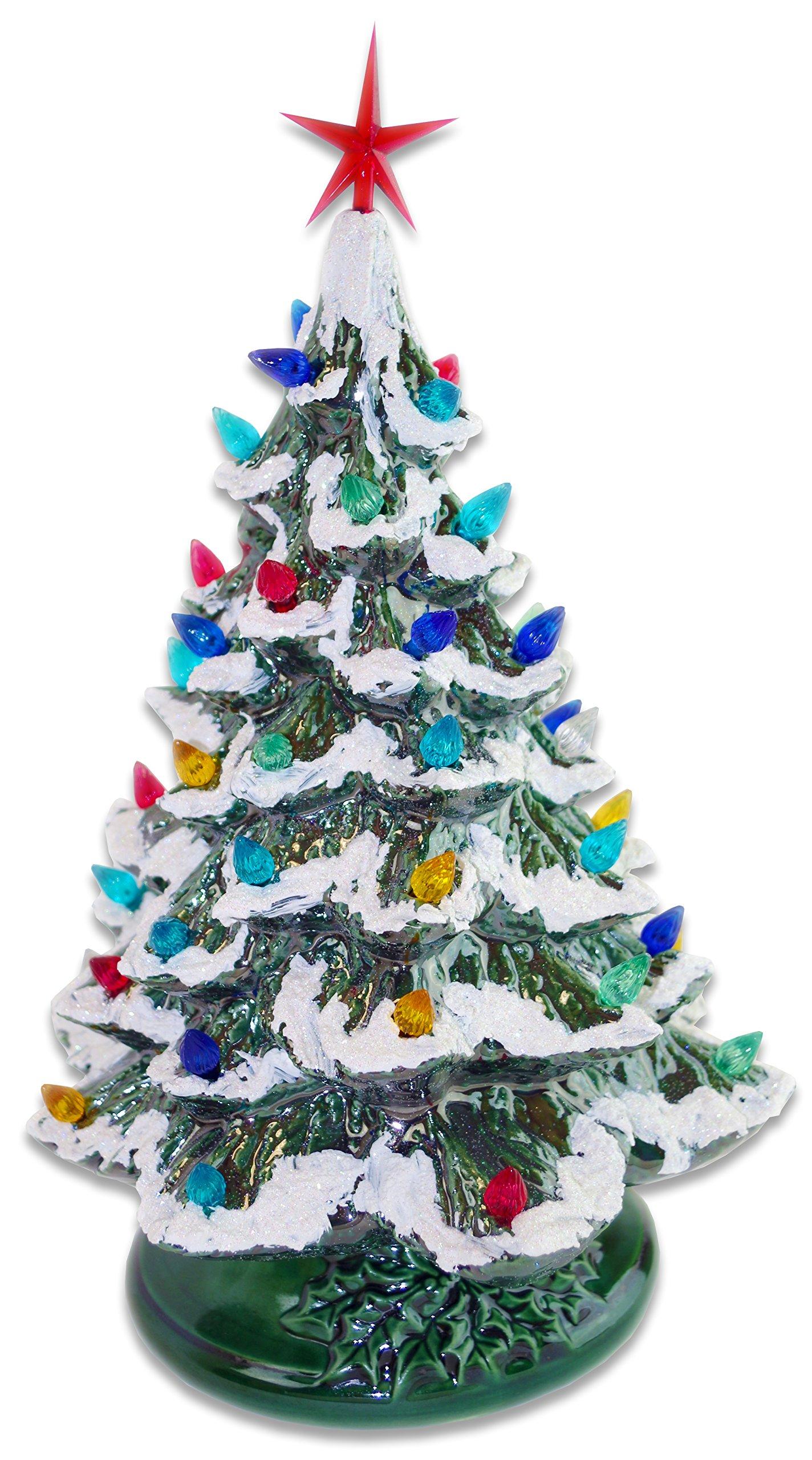 Starry Night 15'' Lighted Ceramic Christmas Tree (15'', Green with Snow)