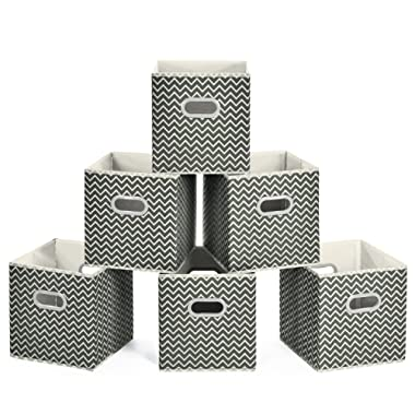MaidMAX Cloth Storage Cubes, Cube Organizer Bins, Foldable Storage Baskets with Dual Plastic Handles for Home Office Nursery Drawers Organizers, Dark Gray Chevron, 10.5×10.5×11 inches, Set of 6