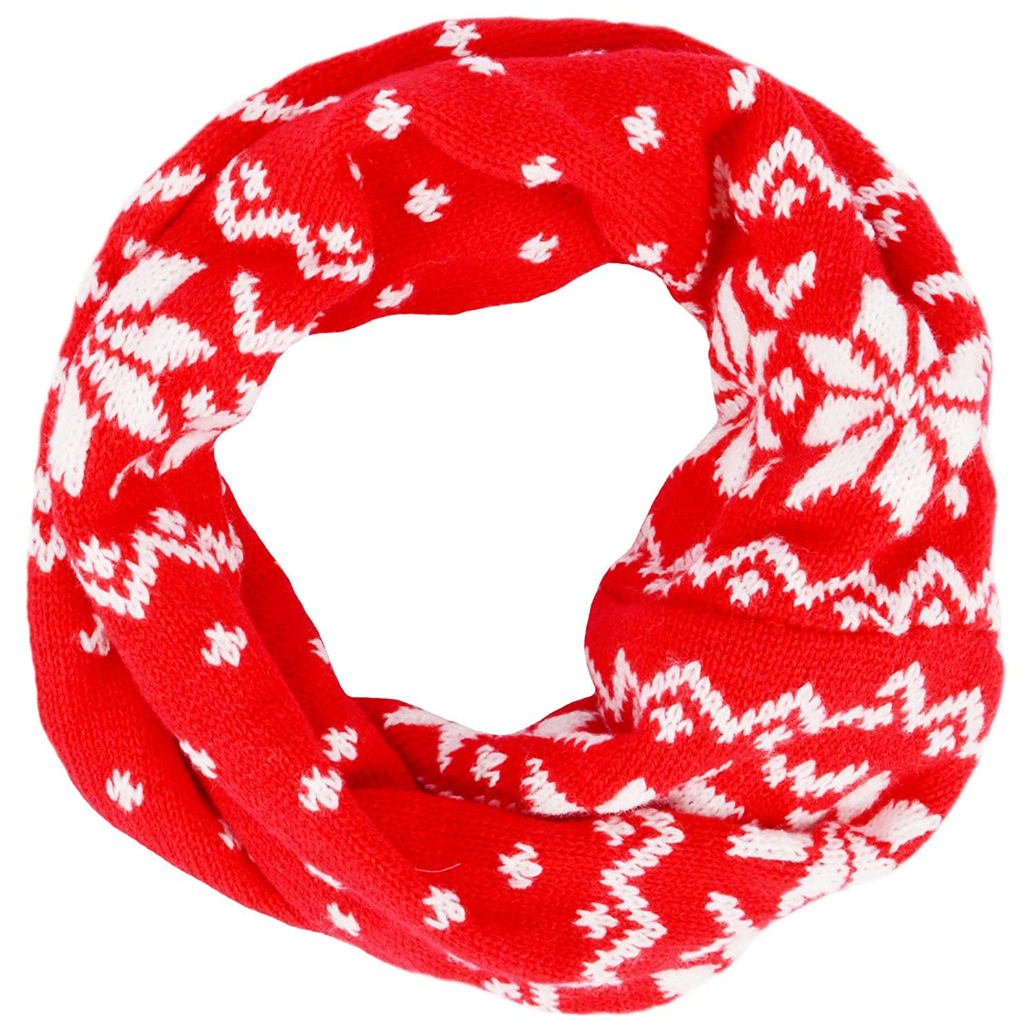 Childrens Winter Beautiful Snowflake Patterned Soft Knit Infinity Scarf