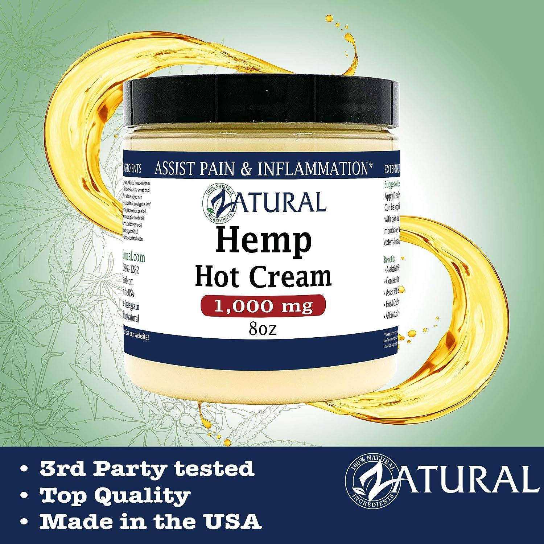 Hemp Hot Cream-Hemp Oil-Organic Hot Cream-Anti Cellulite-Muscle Cream-Pain Support (1,000mg)