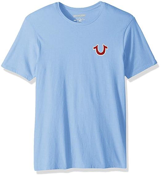 9d0ad50585dc True Religion Men's Buddha Logo Short Sleeve Tee T-Shirt, Oasis Blue, ...