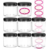 DilaBee 8-Pack 16 Ounce Large Elegant Refillable Clear Plastic Jars with Lids and Labels, Round Container For Beauty Products, Cream, Exfoliating Scrub, Face Masks and Lotion