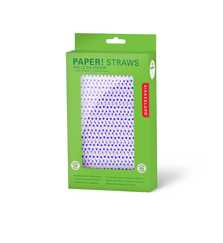 kikkerland biodegradable paper straws red and white striped box  - kikkerland biodegradable paper straws red and white striped box of amazonca home  kitchen