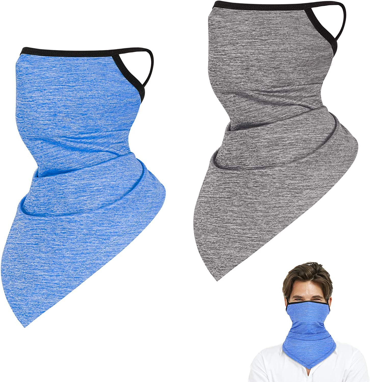 2 Pack Cooling Neck Gaiter with Ear Loops, Outdoor Summer Face Cover Scarf Bandana Balaclava for Men and Women