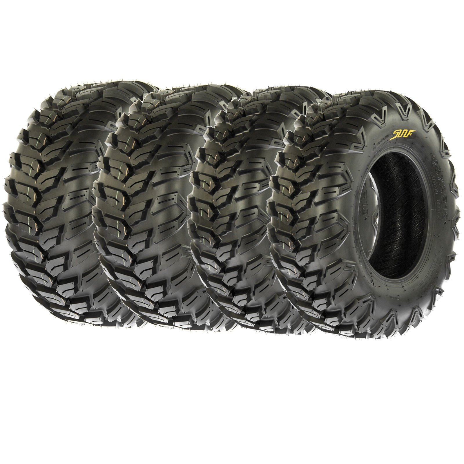 Set of 4 SunF A043 TT XC AT 26x9R12 Front & 26x11R12 Rear Sport ATV UTV Radial Tires, 6 PR, Hardpack All Terrain