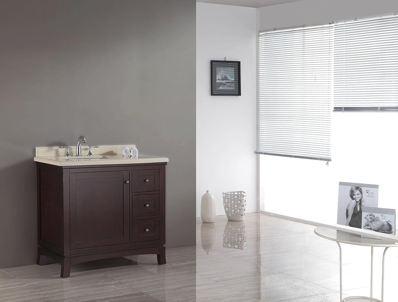 Ove Decors Velega 36 Bathroom 36 Inch Vanity Ensemble With Marble  Countertop And Ceramic Basin, Tobacco     Amazon.com