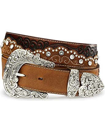 1eacd8e1a3f172 Tony Lama Belts C50499 KAITLYN CRISTAL Ledergürtel für Damen Braun  Westerngürtel, Länge:85 (