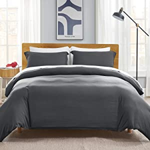 Bedsure California King Duvet Covers Charcoal Grey, Ultra Soft Washed Microfiber Comforter Cover Sets 3 Pieces with Zipper Closure (1 Duvet Cover 104x98 inches + 2 Pillow Shams)