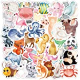 Cute Animal Stickers for Kids, Cartoon Animal Stickers for Water Bottle/Laptop, Watercolor Animal Stickers for Scrapbook Wate