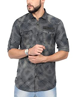 a5e9d2edb88 NORTH REPUBLIC Men s Blue Denim Cotton Full Sleeves Casual Shirt ...