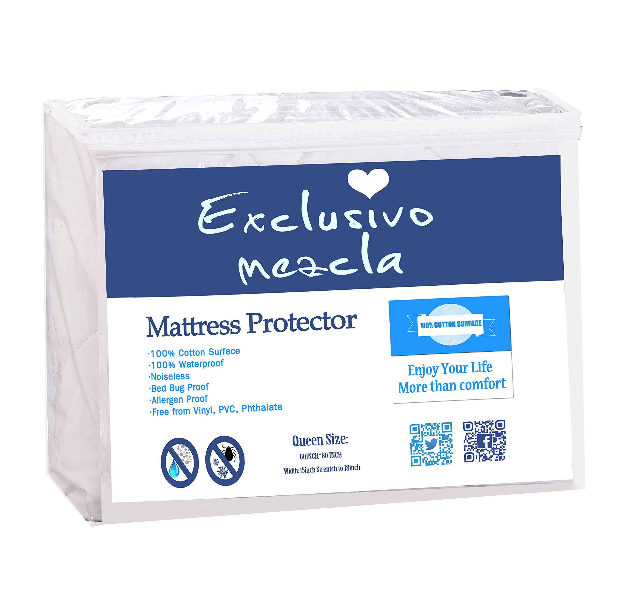 Exclusivo Mezcla 100% Cotton Quilted Bed Cover Fitted Twin Size Mattress Protector/Cover(39'' x 75'')- Waterproof, Noiseless& Hypoallergenic by Exclusivo Mezcla (Image #6)