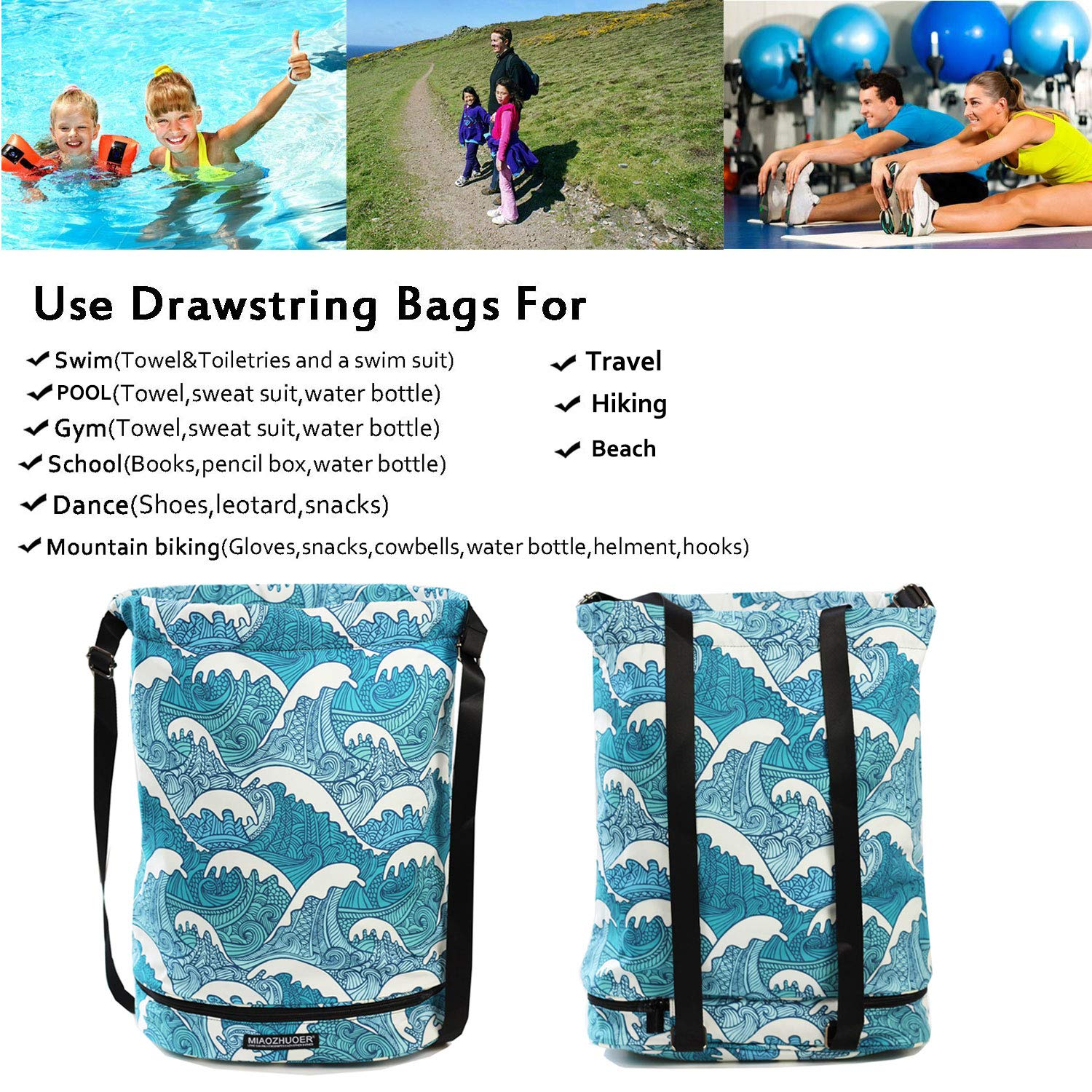 1d0539984511 Dry Wet Drawstring Bag Waterproof String Backpack Swim Pool Beach ...