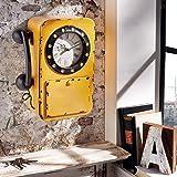 miaVilla 6815286 Wanduhr mit Schlüsselschrank Telefon, Metall, Glas B24 x T11 x H32 cm