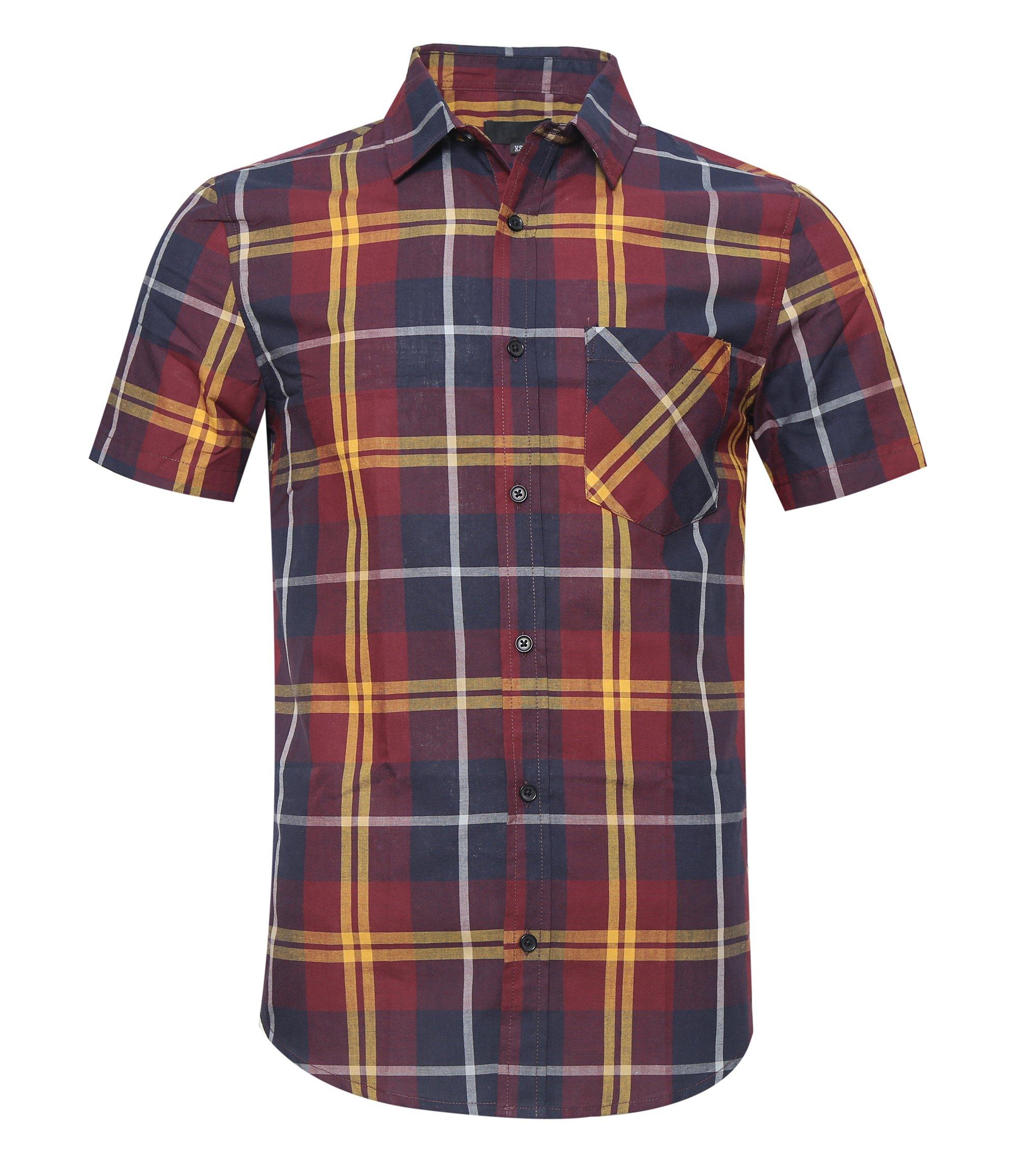 AVANZADA Men's Snap Button Down Plaid Short Sleeve Work Casual Western Shirt Rot&Yellow Large
