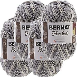 Bernat Silver Steel, Blanket Big Ball Yarn, Multipack of 4, 4 Pack
