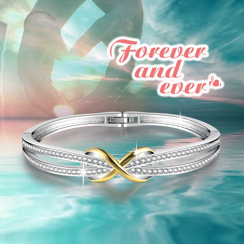 avec Bo/îte Cadeau Angelady Cendrillon Classique Bracelet Argent pour Femme Bracelet Or Rose avec des Cristaux Bracelet Femme Cadeau Anniversaire Femme Maman