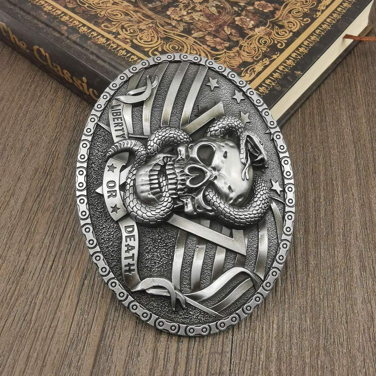 YOQUCOL Vintage Devil Skeleton Skull Snake Head Belt Buckle American Western Cowboy Belt Buckle For Men