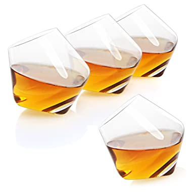 Rocking & Spinning Whiskey Snifter Crystal Glasses/Restaurant Bar Ware, Set of 4 in Gift Box
