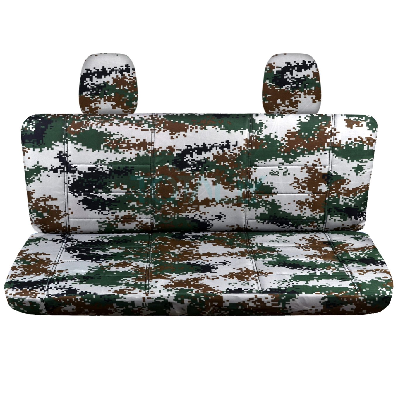 w//wo Center Armrest: Wetland Camouflage F-Series F150 Back w 2 Headrests 16 Prints Totally Covers Fits 2010 Ford F-150 SuperCab//SuperCrew Camo Truck Seat Covers Rear 60//40 Split Bench
