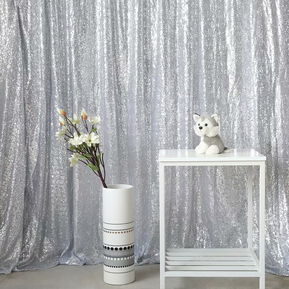GFCC 4FTx8FT Sequin Backdrops,Sequin Photo Booth Decoration,Party Decoration,Wedding Decoration-White,1PC