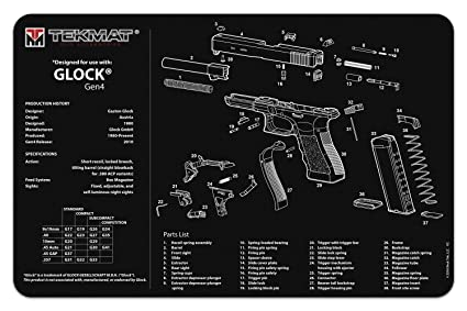 amazon com tekmat glock gen 4 cleaning mat 11 x 17 thick rh amazon com glock 17 parts list glock 17 parts manual