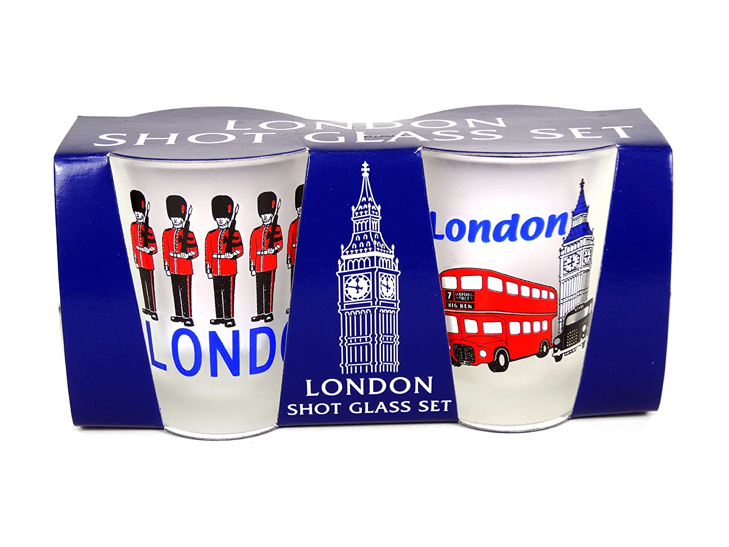 Bus Frosted Shot Glasses with London Icons Taxi Print and Guardsmen Print -2177004 by Shot Glasses Set of 2 Glasses Big Ben