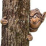 Bits and Pieces - Garden Peeker Elf Tree Hugger-Polyresin Outdoor Tree Sculpture - Whimsical Garden Decoration