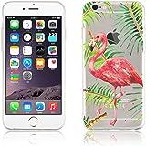 JAMMYLIZARD | Cover custodia in Silicone Trasparente con Sketch per iPhone 6 e 6s, FENICOTTERO