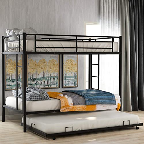 Bellemave Bunk Bed with Trundle, Twin Over Twin bunk Bed with Trundle, with Safety Guard Rails for Kids Teens Adults. Black