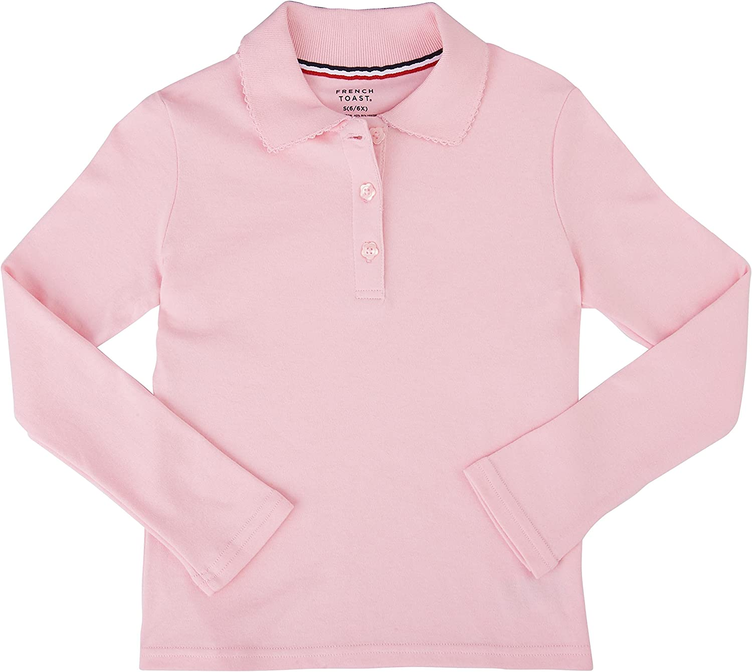 French Toast School Uniform Girls Long Sleeve Polo Interlock with Picot Collar