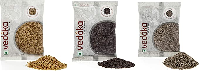 Amazon Brand - Vedaka Spice combo - Cumin Seeds (Jeera), Mustard Seeds (Rai) Big, Fenugreek (Methi), 300g (100g each)