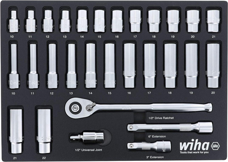 "Wiha 33895 Metric 29 Piece 1//2/"" Drive Professional Standard and Deep Socket Tray Set"