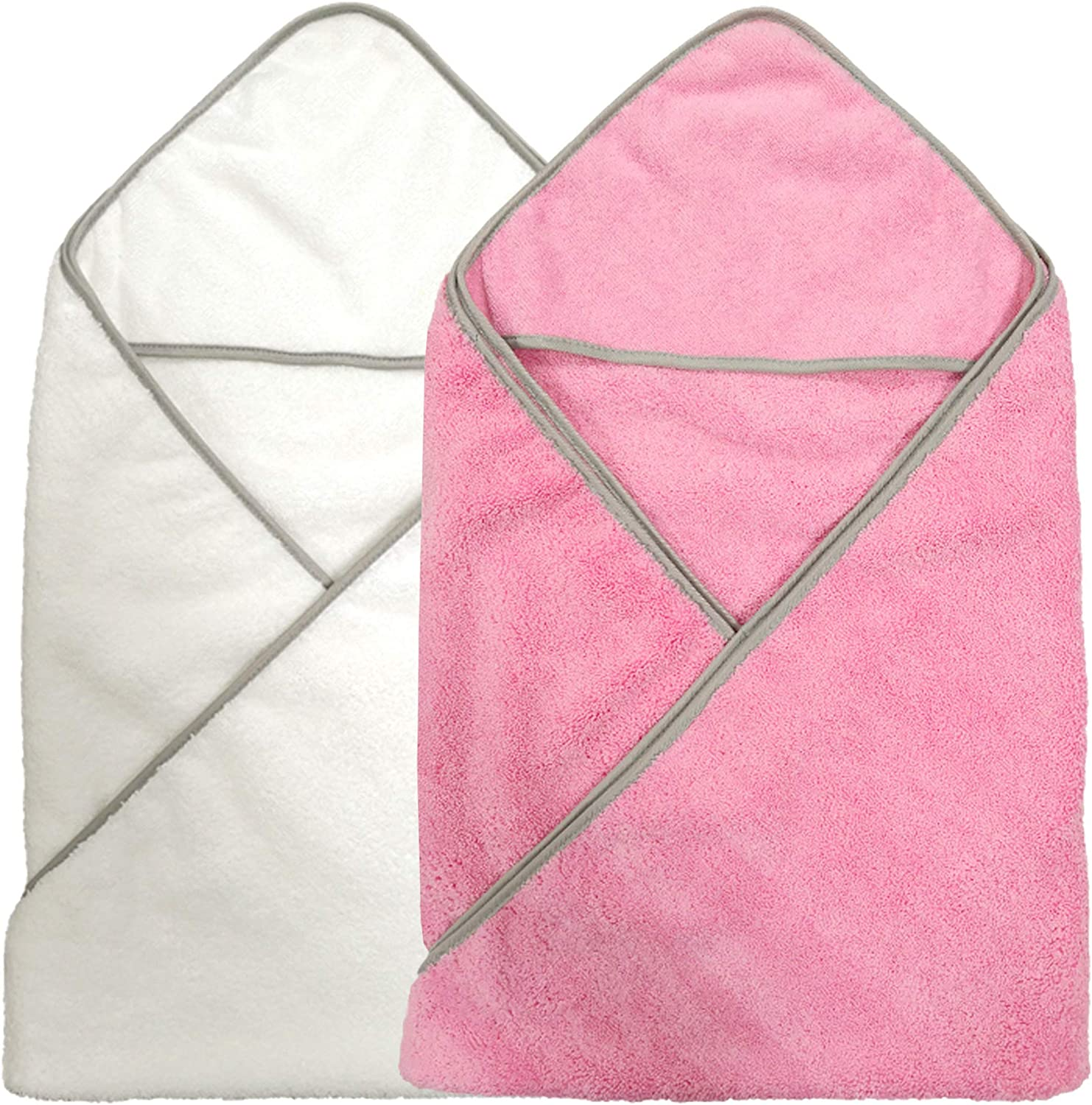 36 x 36 in Polyte Premium Hypoallergenic Microfiber Hooded Baby Bath Towel 2 Pack Pink//White, 36x36 in.