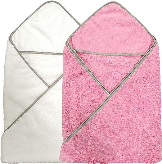 Polyte - Toalla de baño de Microfibra hipoalergénica para bebés - con Capucha - Premium - Rosa, Blanco - 91,4 x 91,4 cm - Pack de 2: Amazon.es: Hogar